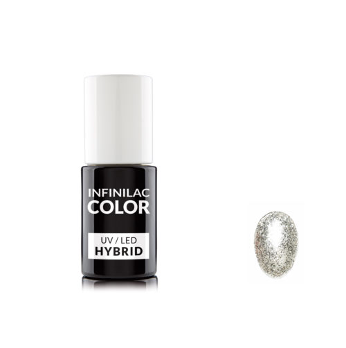 Infinilac hybrydowy lakier do paznokci srebrny brokat silver glitter